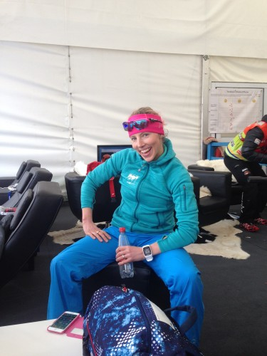 Kikkan starting the recovery process with food, drinks and dry clothes right after the race!