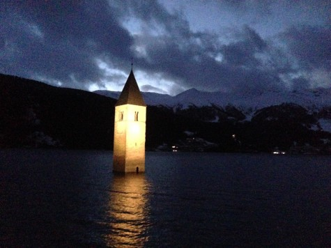 The beautiful floating church on our drive from Obersdorf to Val Müstair