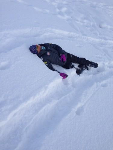 Liz taking a break in the powder