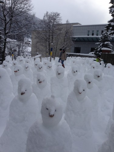 "The strange ""snowman terra-cotta army"" in town"