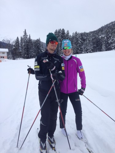 Sadie and her boyfriend Jo out for a ski!