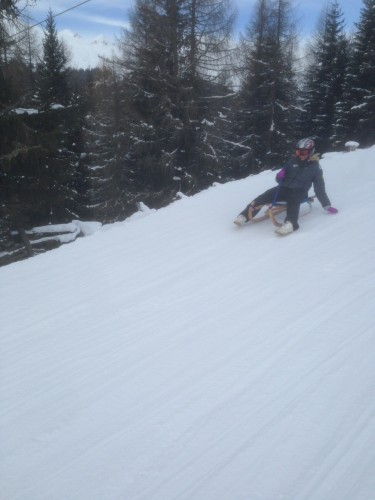 Out having fun on the amazing sled run in Davos!