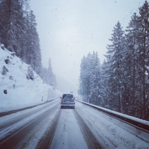 Our snowy drive out of Davos, to Munich, where we took a flight to Östersund