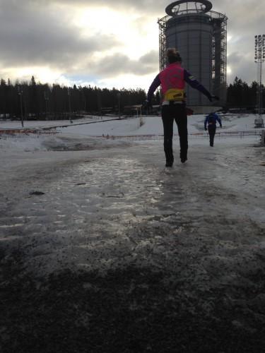Ida taking careful steps over the ice into the stadium!
