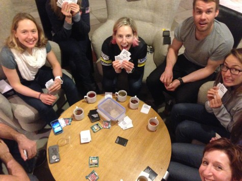 Playing a card game with the team!