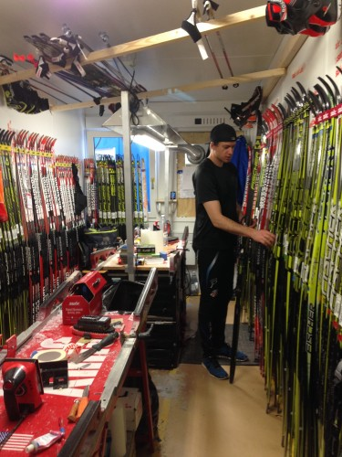 Gus picking out some skis from the wax room