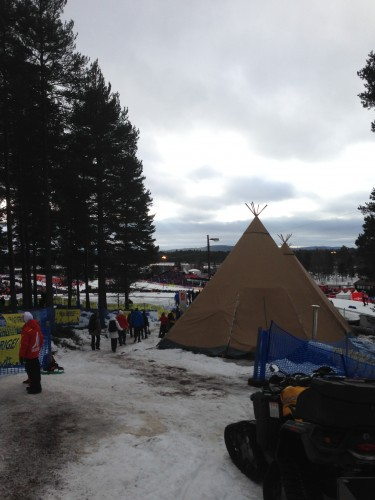 One of the spectator camps set up in the woods