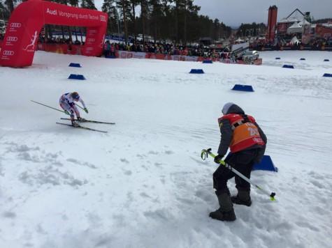 Skiing past the coaching zone on my way to the finish line (photo from Erik Mundahl)