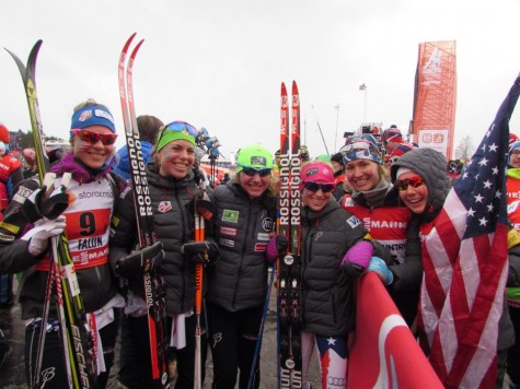 The finish pen crew right before I crossed the line: Sadie, Rosie, Caitlin, Liz, Sophie and Ida! (photo from Zuzana)