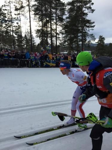 Matt running alongside Sadie during her race (photo from Erik Mundahl)
