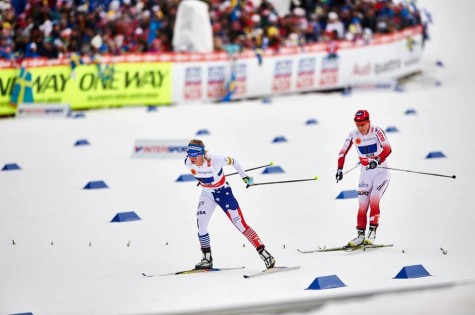 Coming through the stadium after lap one with Poland right behind (photo from Salomon Nordic)