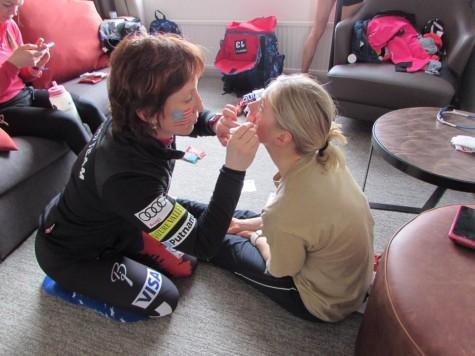 Zuzana doing my face up for the relay! (photo from Zuzana)