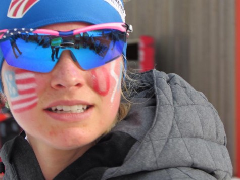 This is a cool shot because you can see the warmup pen reflected in my glasses! (photo from Zuzana)
