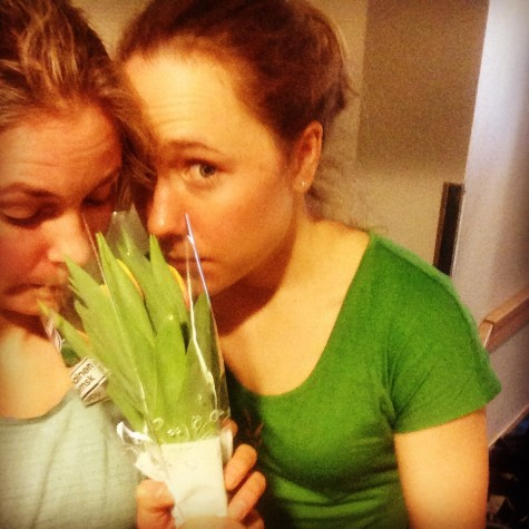 Ida and I smelling our beautiful Women's Day flowers we got from our wonderful staff!