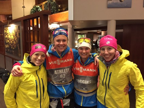 Liz, Sadie, me and Kikkan after the races! (photo from Kikkan)