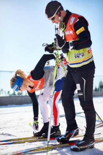 Testing skis with Cork in the days before the race (photo from Salomon Nordic)