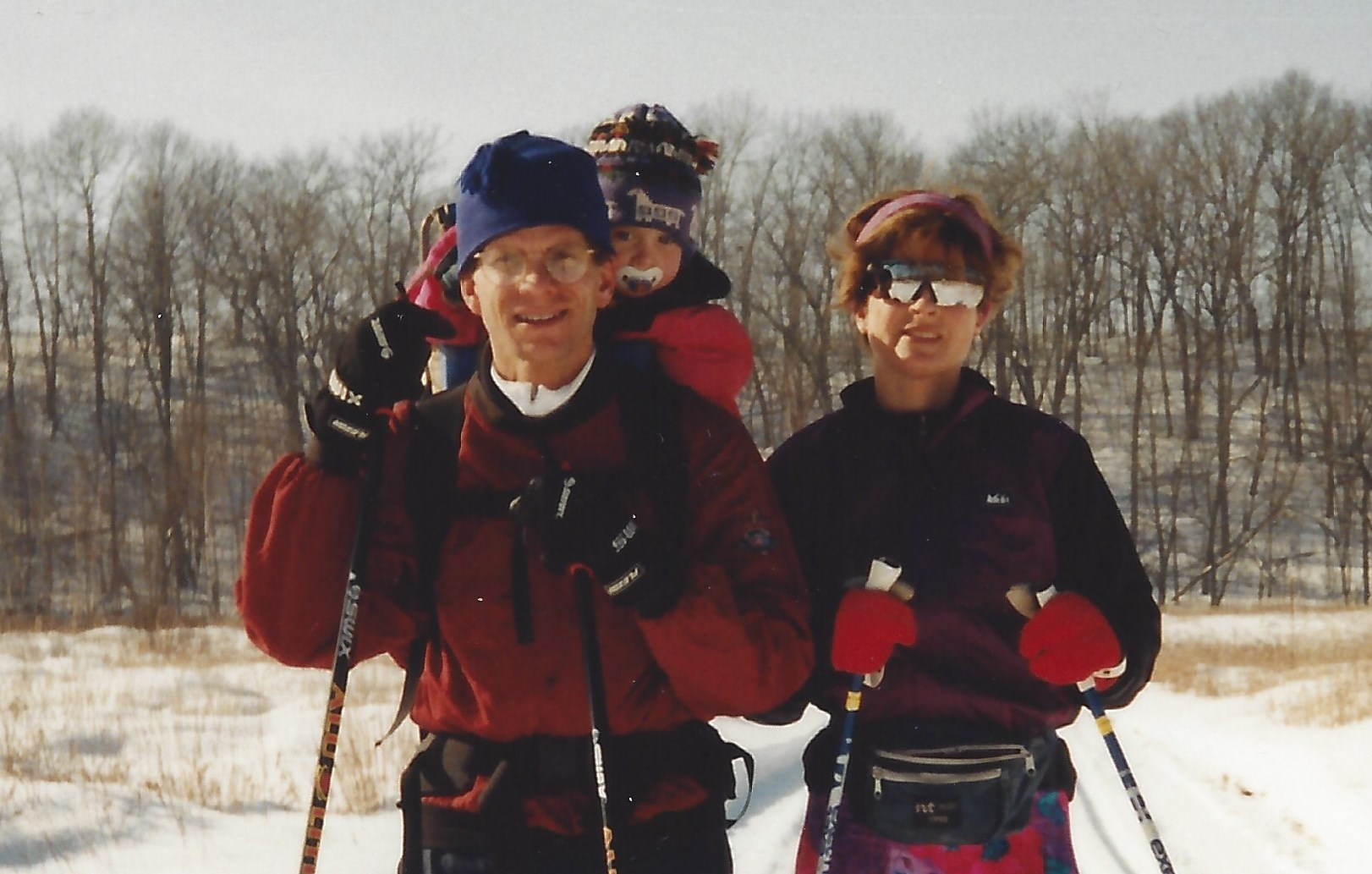 Clay, Deb Diggins with Jessie in a backpack, 1999
