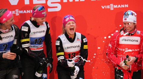 Jessie Diggins leads the celebration with Kikkan Randall as the U.S. Ski Team duo picked up an historic win in Quebec City.