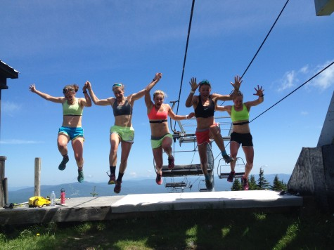 Annie, Anne, Me, Sophie and Ida giddy after finishing bounding intervals up Stratton Mountain (photo by Jason Cork)