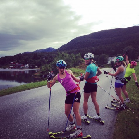 Pretty psyched with our beautiful roller skis so far! Liz, Sophie, Caitlin, Kikkan
