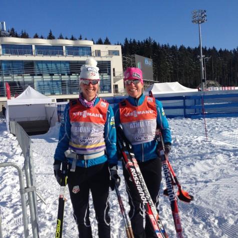 Sadie and Rosie out testing skis.