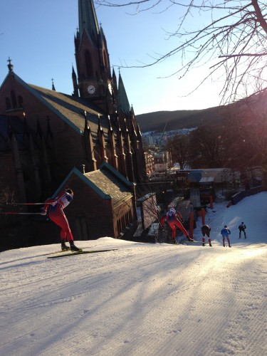 The boys at the top of the course in Drammen.