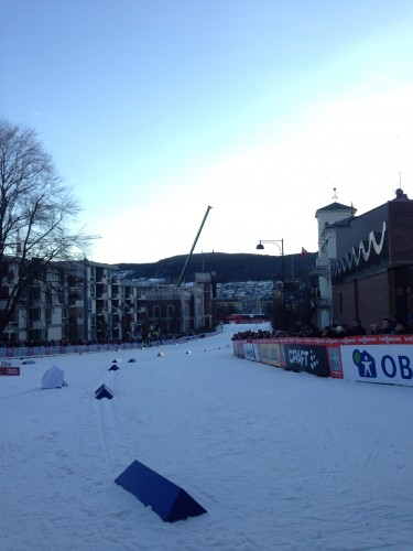 Looking down the course towards the start line. (It's more of a climb than it looks in the photo)