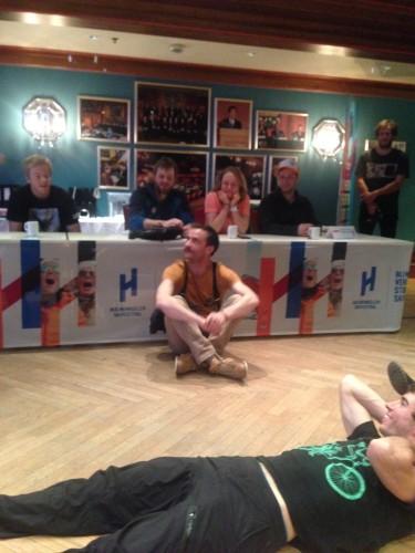 Pre-race meeting. JP in some rocking suspenders.