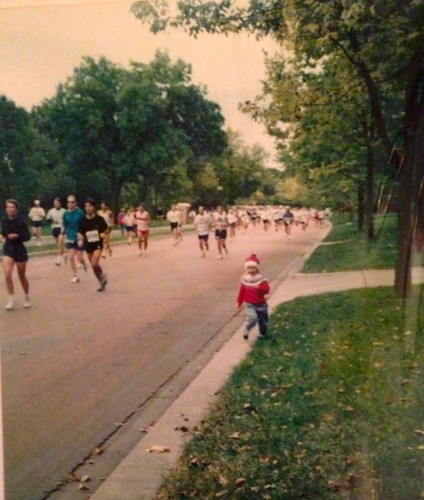 Cheering on my Dad in a marathon. I think I must have been about 4 years old!