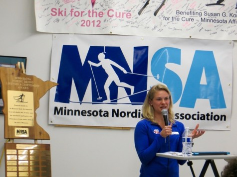 Presenting at the Minnesota Nordic Ski Association's year-end event. (photo from Bruce Adelsman)