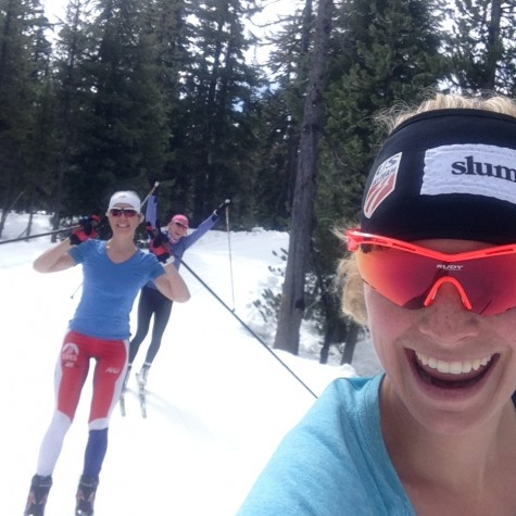 Annie, KO and I enjoying a sunny slush ski!