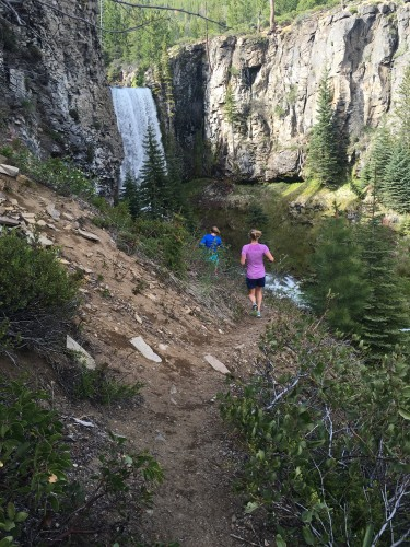 Rosie and I running to the falls (photo from Erika)