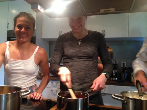 Cooking teams! Heidi and Astrid at the stove.
