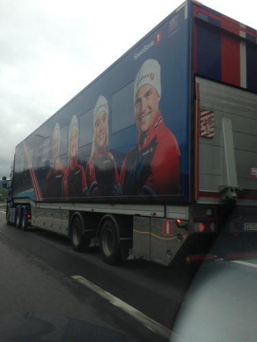 It seemed fitting that we drove past the wax truck on our way back to Oslo.