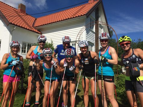 Last workout of camp - a 3:15 skate/classic roller ski! Stopping to say hi to the chef's house near Svarstad.