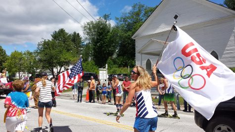 Roller skiing through the parade! (photo from Jessie Heydt)