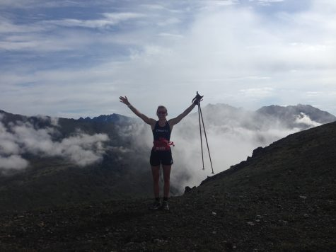 Soph in the clouds! We hiked Wolverine with poles to use our arms more and keep the pace down.