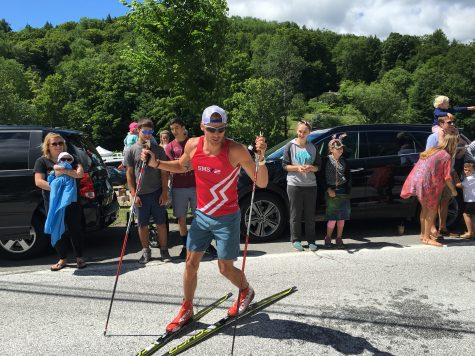 "Andy doing some fancy footwork on his ""road skis"" (photo from Erika Flowers)"