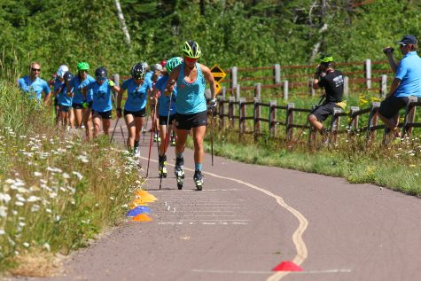 Time for classic striding and running drills, Coach Fish style. (photo from Bruce Adelsman/Skinnyski.com)