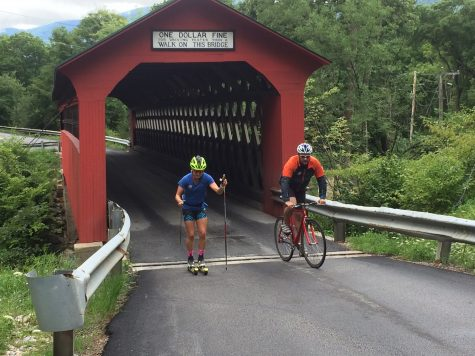 "Avoiding the ""one dolla fine"" going through the covered bridge with Cork! (photo by Pat O'Brien)"