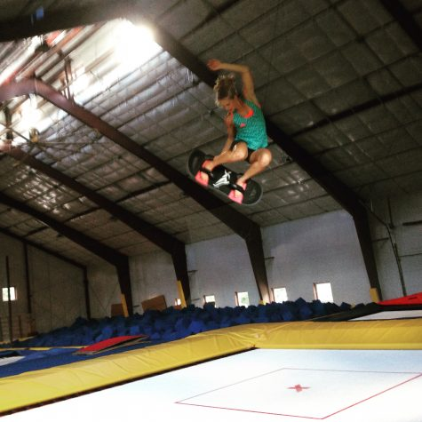Having fun working on my balance, agility and air awareness on the trampoline! (photo by Jason Cork)