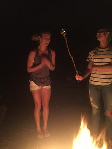 Blowing out my marshmallow candle! (photo from Erika)
