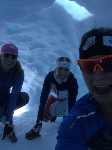 KO, Erika and I exploring an igloo on the side of the trail during an easy afternoon ski!
