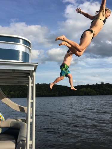 Dad and I jumping off the top deck!