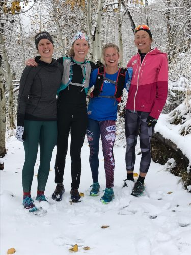 Enjoying an early snow fall with Anne, Erika, (me) and Sophie! (photo from Erika)
