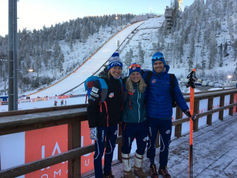 Sophie, me and Simi at the ski jump overlooking the stadium the day before the race!