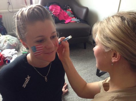 Getting Sadie all painted up for the relay at World Champs 2015! (photo from Zuzana)