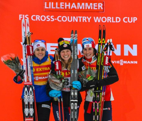 In great company! On the podium with Heidi and Marit. Where we got beautiful flowers and 10lbs of cheese! (photo by Getty Images/AFP)