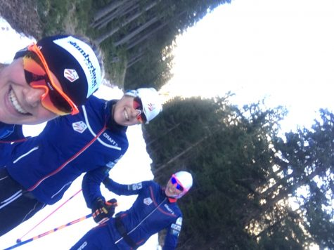 Rosie, Kikkan and I doing some easy classic skiing and speeds a few days out from the races.
