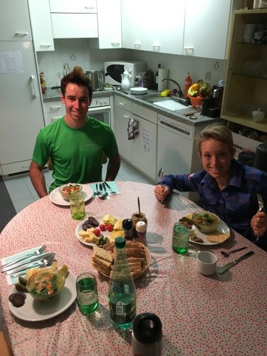 Dinner with Liz and Noah - it made me so happy to cook again!